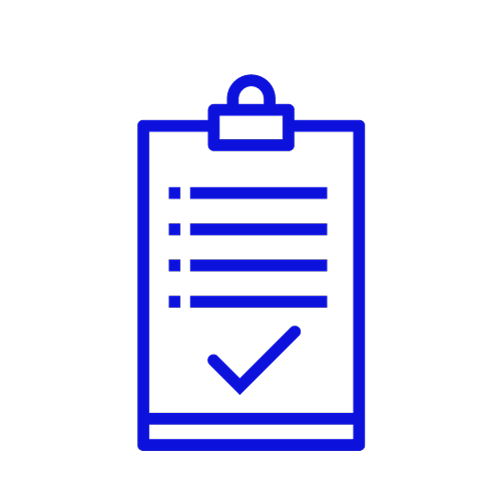 Blue icon showing a clipboard with a tick