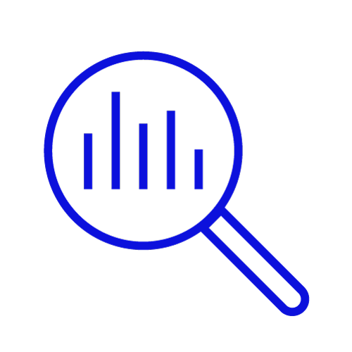 Blue icon showing a magnifying glass looking at a graph