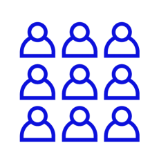 Blue icon showing a group of people