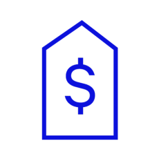 Blue icon showing a price tag