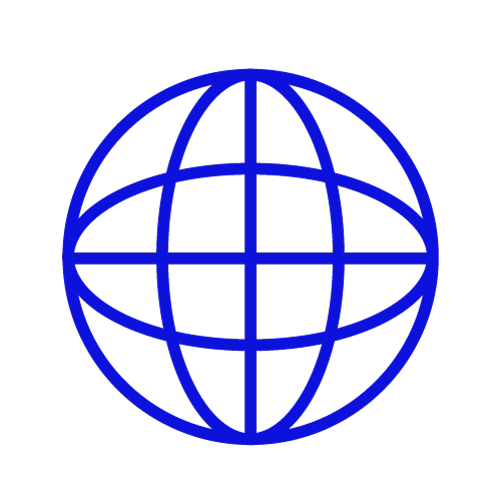 Blue icon showing a globe