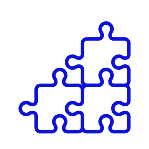 Blue icon showing a jigsaw of three pieces