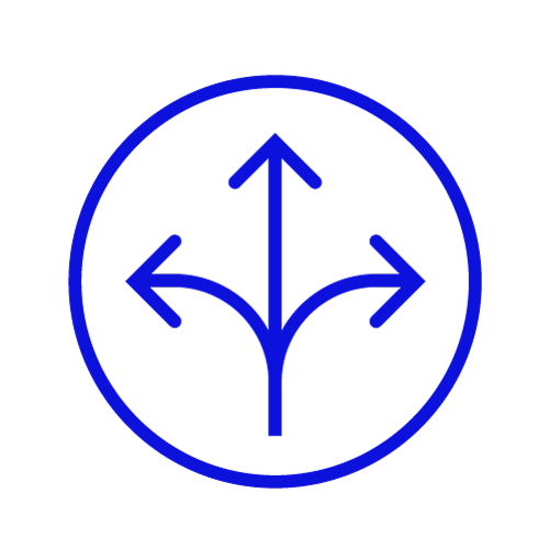 Blue icon showing a crossroads in a circle