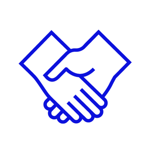 Blue icon showing a handshake