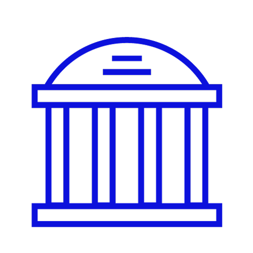 Blue icon showing a monument