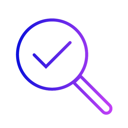 Gradient icon showing a magnifying glass looking at a tick