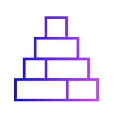 Gradient icon showing a wall of blocks