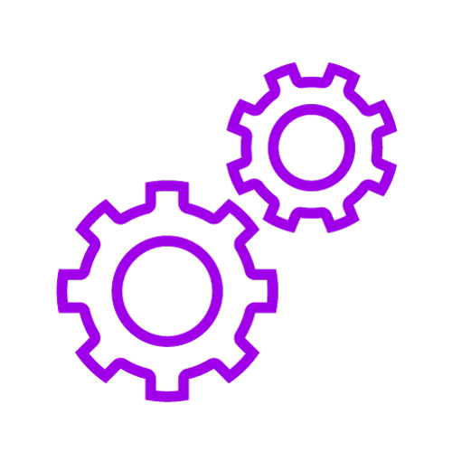 Purple icon showing two cogs