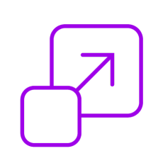 Purple icon showing growth