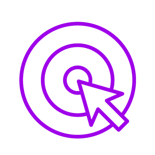 Purple icon showing a target and an arrow