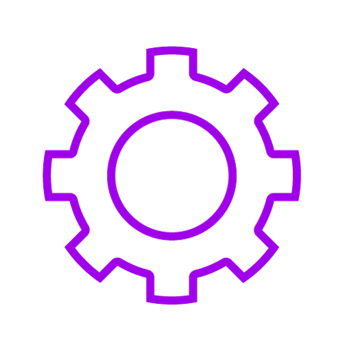 Purple icon showing a cog