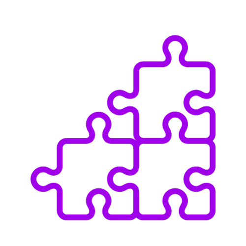 Purple icon showing a jigsaw puzzle