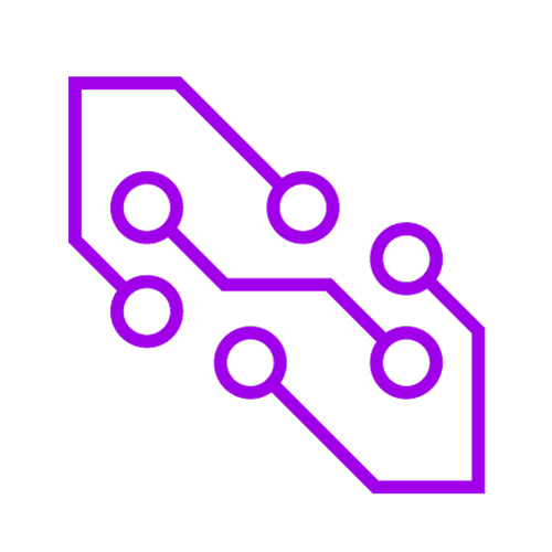 Purple icon showing nodes in a network