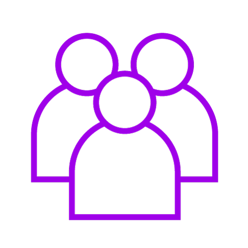 Purple icon showing three people