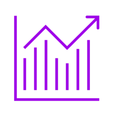 Purple icon showing a graph