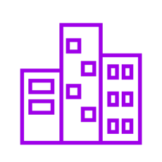 Purple icon showing three buildings