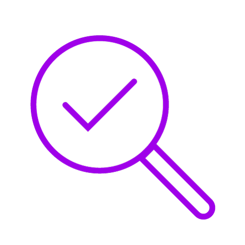 Purple icon showing a magnifying glass looking at a tick