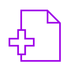 Purple icon showing a plus sign and paper
